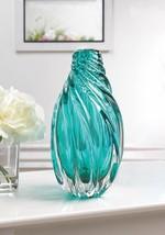 Ocean Aqua Spiral Art Glass Vase - $59.60