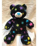 "Build a Bear Toy Plush Bear 17""  Black With Rainbow Stars  gift present B31 - $28.57"