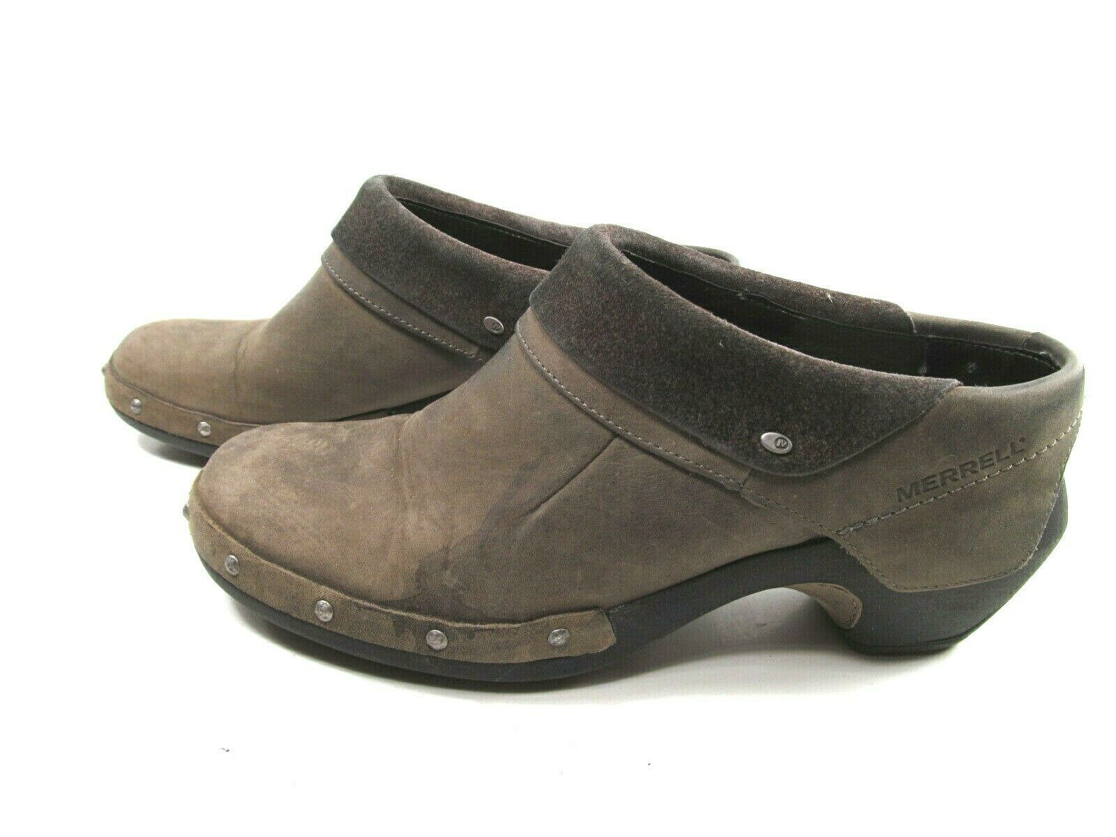Merrell Drizzle Womens Taupe Leather Studded Slip On Clogs Size US 8 EUR38.5