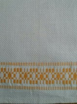 NOS VINTAGE HOMESPUN LINEN TOWEL WITH GOLDENROD YELLOW BANDS - $6.92