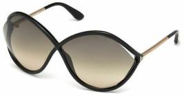 New Tom Ford Women Sunglasses Liora FT0528 01B Shiny Black Frame 70-5-120 - $168.28