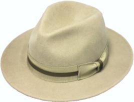 Henschel Wool Felt Outback Matching Grosgrain Ribbon Band Medium Size Brim Beige - $62.00