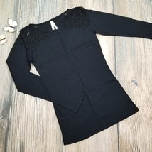 New COL STORY size M women black lace shoulder long sleeves top tee - $8.91