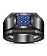 Blue Sapphire Mens Wedding Anniversary Ring Band Rhodium Finish 925 Soli... - $93.73