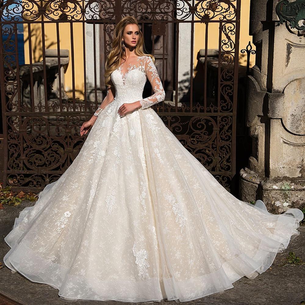 Leeve appliques lace a line wedding dresses vestido branco buttons up back floor length princess