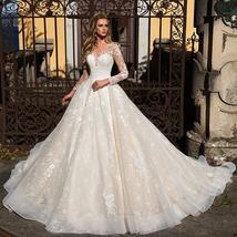 Long Sleeve Appliques Lace A-line Button Up Back Floor Length Princess Wedding G