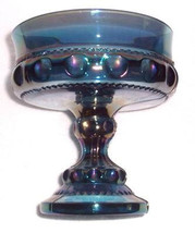 Vintage Indiana Glass Thumbprint Design Blue Iridescent Table Compote Display - $35.99