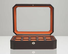 WOLF Windsor 10 Piece Watch Box with Cover (Brown/Orange) Storage Case 4... - $115.00