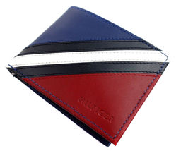 Tommy Hilfiger Men's Leather Wallet Passcase Billfold Red Navy 31TL22X051 image 3