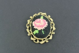 Vintage Gold Tone Cross Stitch Embroidered Oval Rose Brooch Cameo - $9.47