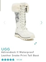 NWT UGG ADIRONDACK TALL III SNAKE WHITE WATERPROOF WOMENS BOOTS SZ US 7/... - $118.79