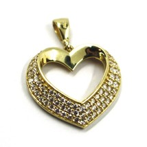 PENDANT GOLD 750 18K, YELLOW, PENDANT, HEART, THREE ROWS OF ZIRCON CUBIC image 2