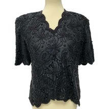 Lawrence Kazar New York Vintage Black White Beaded Sequin short Sleeve s... - $35.97