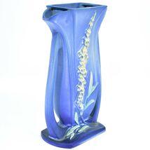 """Vintage Roseville Pottery USA Blue Foxglove Floral Flower 9.25"""" Vase 49-9 image 3"""