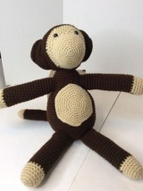 Handmade Brown Large 19in Monkey Amigurumi Stuffed Plush Toy Knit Croche... - $32.71