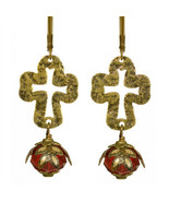 Sanctuary Cross No Monet Earrings Gold Red Cream Crystal Hand Crafted in... - $29.99