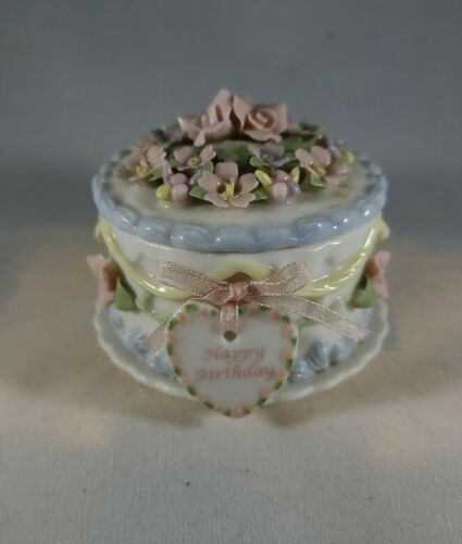 Primary image for San Francisco Music Box Co. Anna Rosa Collection Happy Birthday cake trinket box