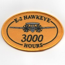 USN NAVY E-2 3000 HOURS HAWKEYE OVAL YELLOW EMBROIDERED JACKET PATCH - $18.99