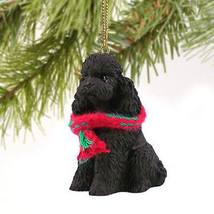 POODLE (BLACK) DOG CHRISTMAS ORNAMENT HOLIDAY XMAS Figurine Scarf Sportcut - $9.50