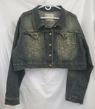 Crest Plus Size Cropped Rhinestoned Blue Denim Jacket Sz 2X EUC 0051 - $32.85