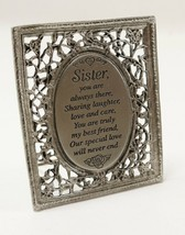 "Vintage Cathedral Art Pewter "" SISTER "" Miniature Open Work Floral Frame... - $8.99"