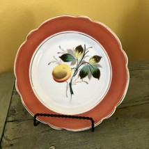 Orange Peach & Flowers Dessert Plates Hand Painted Fruit Plate Wall Decor - $7.85