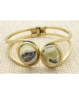 Blue Pink Gray Agate Oval Stone Gold Tone Clamper Bangle Bracelet Vintage - $34.64