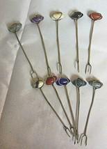 Vintage Set of 10 Sterling Silver Cocktail Forks Picks with Stones Hand ... - $58.81