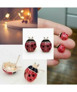 """CUTE LADYBUG EARRINGS 0.5"""" Small Red Black Enamel Insect Girl's Gift Gol... - $7.95"""