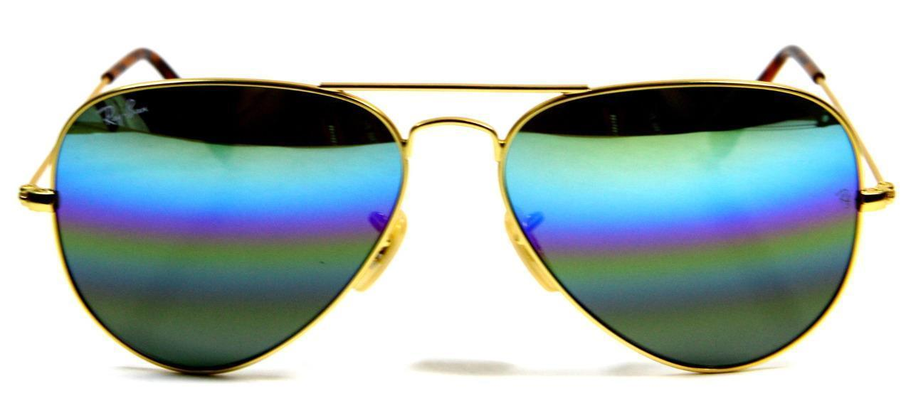 Primary image for Ray Ban 3025 9020/C4 Rainbow Lens Gold Frame Aviator Sunglasses 58mm New Genuine