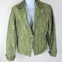 Jones New York Collection Women's Jacket Size 6 Green Mingle Long Sleeve... - $19.34