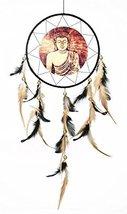 WALL HANGING HANDMADE FEATHERS DECORATION DREAM CATCHER CANVAS BUDDHA SE... - $34.30