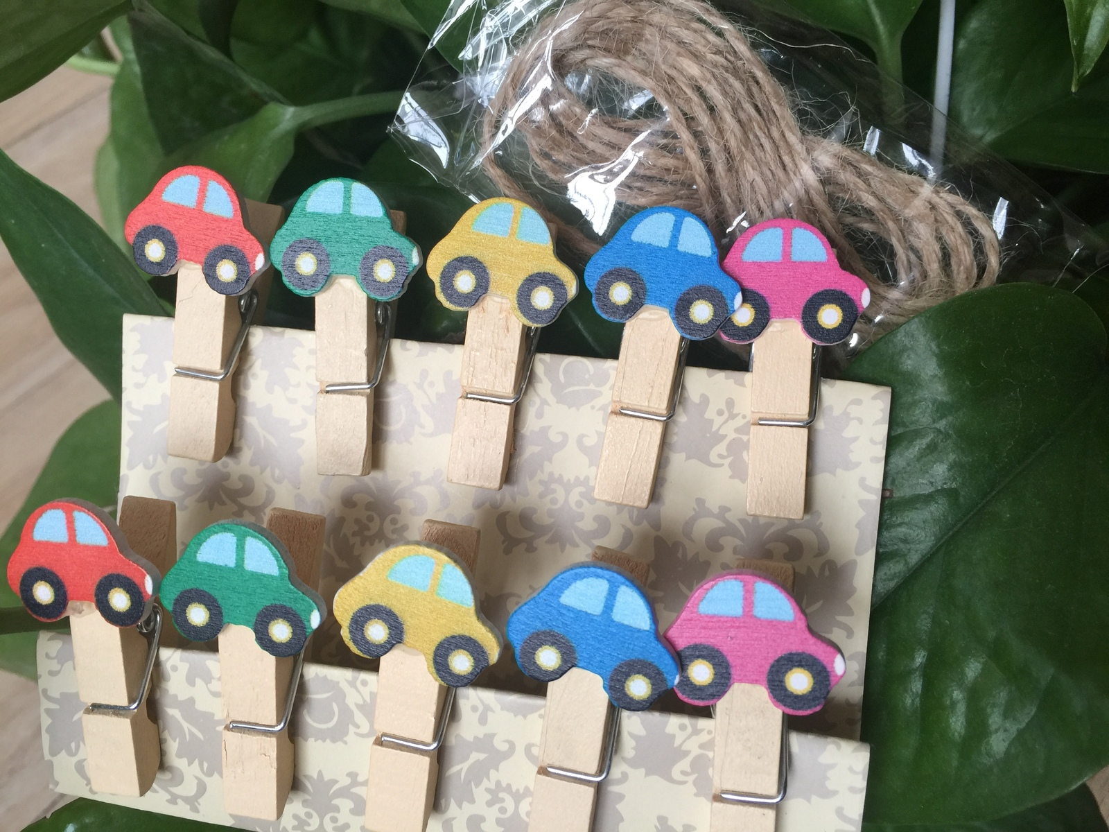 Primary image for 10pcs Car Wooden Clips,wooden pegs,Children's Birthday Party Pavor Decoration