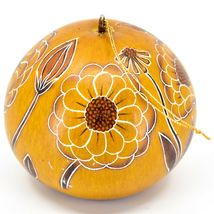 Handcrafted Carved Gourd Art Zinnia Flower Floral Ornament Made in Peru image 3