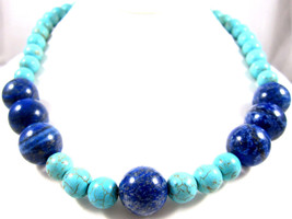 Aqua Turquoise & Blue Sodalite Accent Gemstone Beads Necklace*925*18-3/4... - $54.40