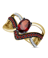 Oval Cut Garnet Womens Designer Wedding Engagement Ring 14k Gold Over 92... - £54.92 GBP