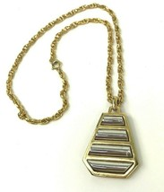 Vtg Necklace Crown Trifari Gold Tone Silver ribbed Pendant Mod Geometric... - $17.81