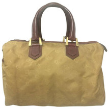 Vintage Christian Dior beige handbag purse in  logo jacquard nylon and wine leat - $186.00