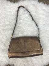 Liz Claiborne Purse Bronze Metallic Small Shoulder Handbag Flap Snap Closure NWT - $11.99