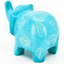 Vaneal Group Hand Crafted Carved Soapstone Sky Blue Elephant Figurine Made Kenya image 3