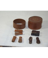 Vintage Cufflink Box Leather Stud Box Trinket Box for Earings - $20.00