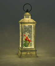 "10.83"" led Water Lantern w Three Cardinal Birds, White Branches & Pine Trees image 3"