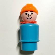 Vintage Fisher Price Little People Construction Worker Light Blue Orange Hat - $4.98