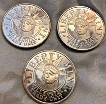 Lot of (3) Vintage Vintage Liberty Mint Millennial Trade Unit .999 Silve... - $58.87