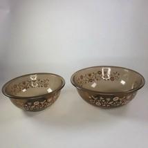 Vintage pyrex amber glass mixing bowls set of 2  Larger bowl measures 11... - $33.66
