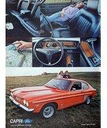 1971 Ford Capri Car, 70's print ad. Color Illustration. (beautiful) orig... - $13.85