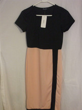 Fashion Mia Short Sleeve Black and Pink Dress Size Small 100% Polyester - $22.98