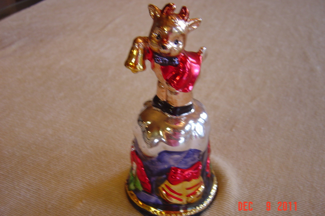 "Bell Cow Christmas 6"" Tall Ceramic Clapper Hand Paint Luster Mercury Glass Look"