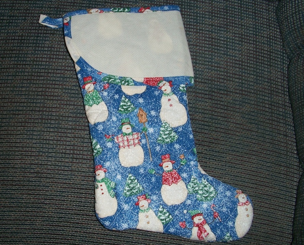 Snowman blue quilted christmas 15 cross stitch stocking for Charles craft cross stitch fabric