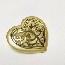 Vintage Danecraft Filigree Heart Brooch Lapel Scarf Pin - $7.92